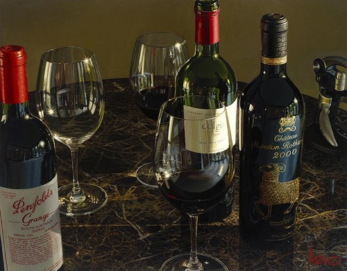 Hyper Realistic Wine Paintings of Thomas Arvid