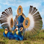Decorated with peacock feathers fancy costume of Samba Queen, made in Posusje de Caldas