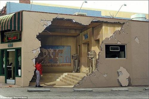 The mural Siete Punto Uno. 3D mural by American artist John Pugh
