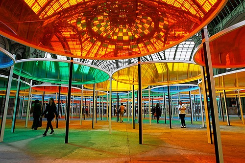 Colorful installation by conceptual artist Daniel Buren