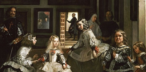 Detail of Las Meninas by Diego Velazquez (1656). The real life seven dwarfs