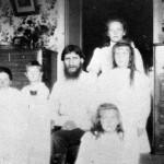 Grand Duchesses Tatiana, Anastasia and Maria, Tsarevich Alexei and two of their nurses with Rasputin 1908