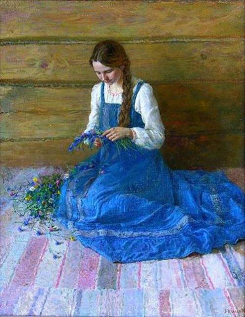 Cornflower in photography and painting. Cornflowers, artist Alexey Shalaev