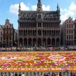 Thousands of locals and tourists enjoy the view of the impressive street art installation - Beautiful Flower carpet in front of Grand-Place, Brussels, Belgium