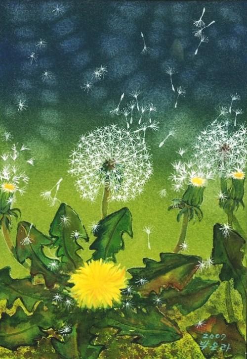 Dandelion in painting by Korean artist Bak Eun-ra