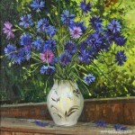 Cornflower in painting, artist Dmitriy Kuchmin