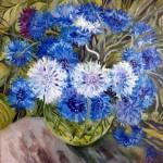 Cornflower in painting, artist Elena Bazanova