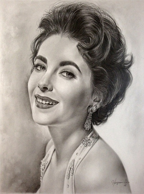 Elizabeth Taylor. celebrities by Michelle Seo