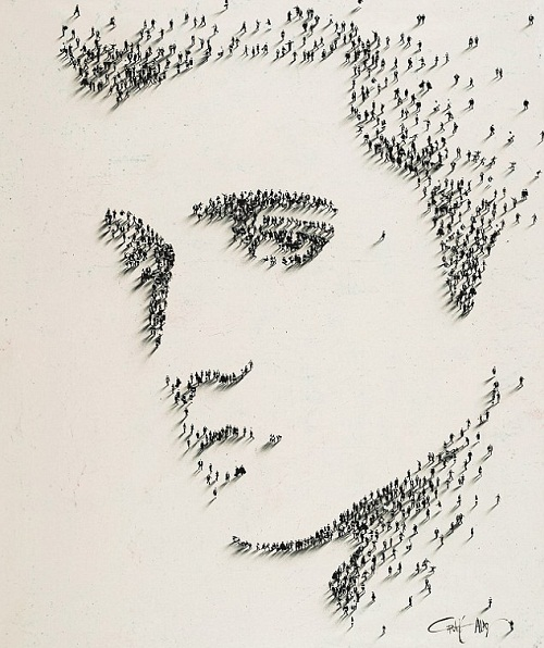 Elvis Presley, Portrait in a crowd. Photoart by American photographer Alan Craig
