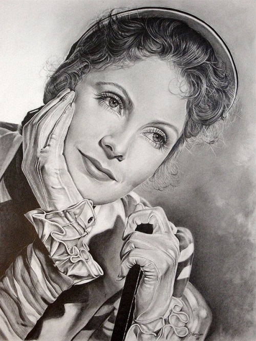 Greta Garbo. Pencil portrait by American Artist Michelle Seo Hongmin