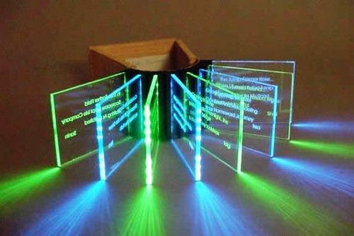 Haiku Journeys, 2004, LED, Laser-etched acrylic sheet, wood and raffia