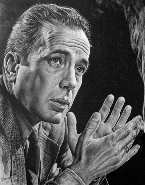 Humphrey Bogart. Pencil portrait by American Artist Michelle Seo Hongmin
