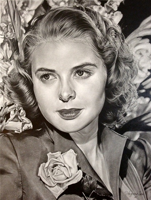 Ingrid Bergman. Pencil portrait by American Artist Michelle Seo Hongmin