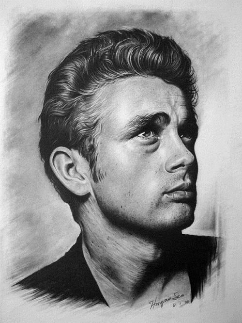 James Dean. Pencil portrait by American Artist Michelle Seo Hongmin