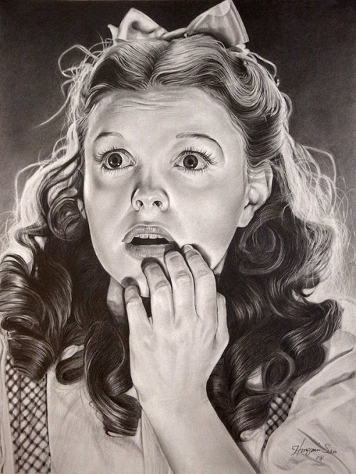 Judy Garland. Pencil portrait by American Artist Michelle Seo Hongmin