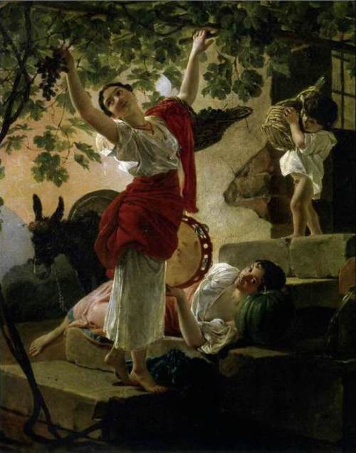 A girl collects the grapes around Naples. 1827