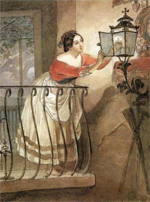 Italian, lightning the lamps before the image of the Madonna. 1835