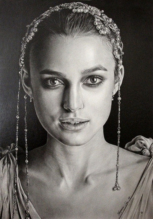 Keira Knightley. Pencil portrait by American Artist Michelle Seo Hongmin
