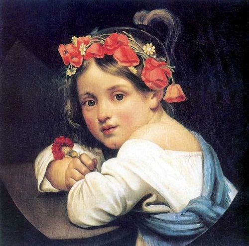 Kiprenskiy Orest Adamovich. A girl in a poppy wreath with a carnation in her hand (Mariuchcha). 1819. I sing the Poppy