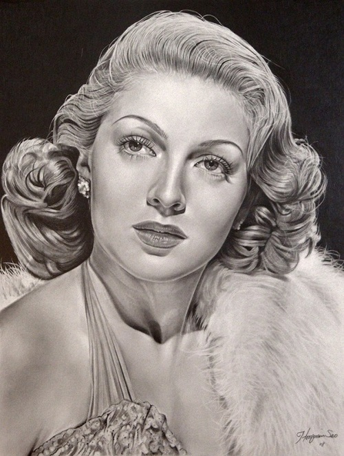 Lana Turner. Pencil portrait by American Artist Michelle Seo Hongmin