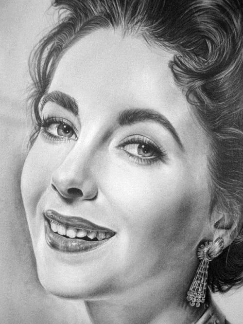 Liz Taylor. Pencil portrait by American Artist Michelle Seo Hongmin