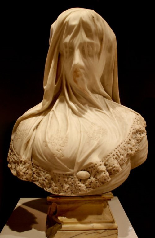 Marble Bust of a Veiled Maiden Signed By Raffaello Monti