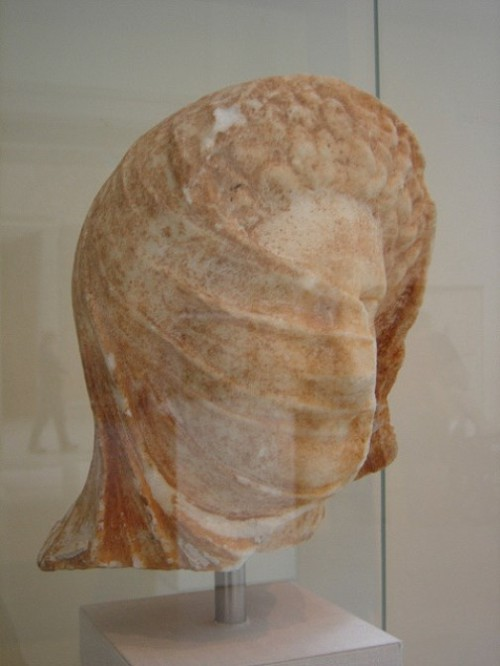 Marble Head of Veiled Woman (4th c. BC, Greek, PC, NY Met)