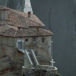 Balancing act: The monastery of Roussanou at the base of a stone tower in Meteora, Greece in a picture taken in 1985