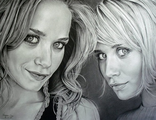 Olsen Twins. Pencil portrait by American Artist Michelle Seo Hongmin