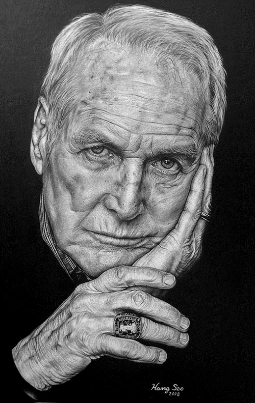 Paul Newman. Pencil portrait by American Artist Michelle Seo Hongmin