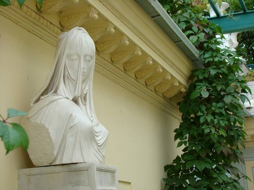 Petrodvorets, Russia. The sculpture of 'Lady under the veil'. Sculptures by Antonio Corradini