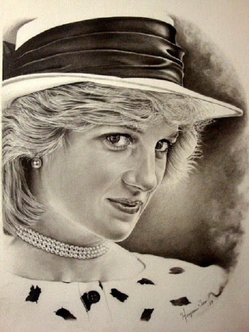 Princess Diana. Pencil portrait by American Artist Michelle Seo Hongmin