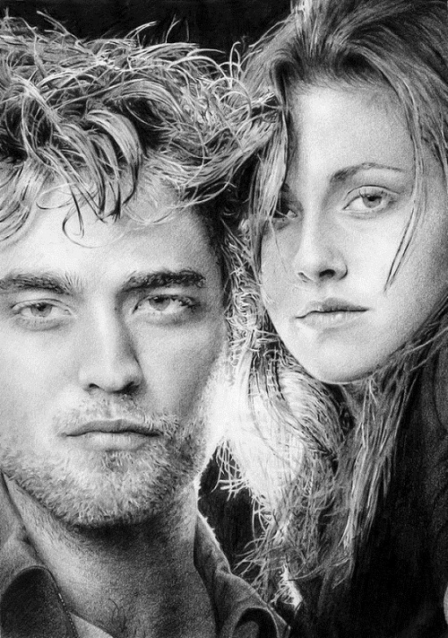 Robert and Kristen. Pencil portrait by Michelle Seo Hongmin