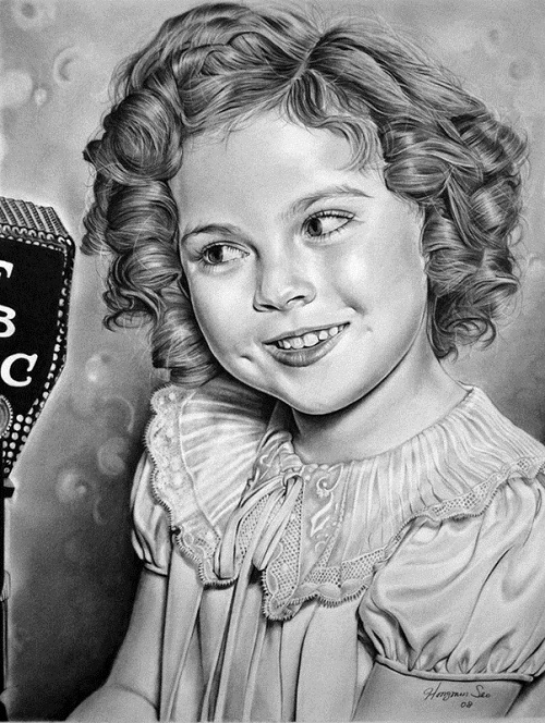 Shirley Temple. Pencil portrait by American Artist Michelle Seo Hongmin