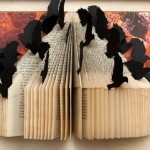 Book art installation with birds. Work by Canadian artist Rachael Ashe