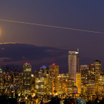 Supermoon rises above the horizon in Seattle, WA