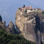 Between a rock and a hard place: The Holy Trinity is part of the Meteora – which translates as 'suspended in the air' – complex of monasteries in Greece, one of the largest collections of such buildings in the country