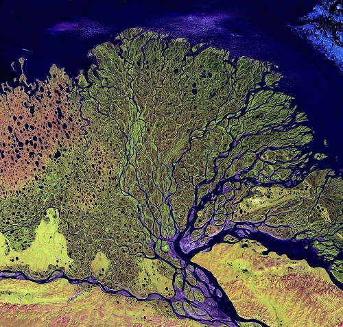 The Lena Delta in Russia. The beauty of the world a view from above