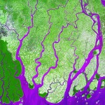 he delta in Ganges River, Bangladesh, with false colors serving as a contrast between land and water