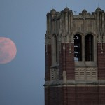 The supermoon rises over the Renkert Building in Canton, Ohio