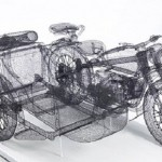 Motorcycle with a sidecar. Three dimensional sculpture made of steel wire by Chinese artist Shi Jindian