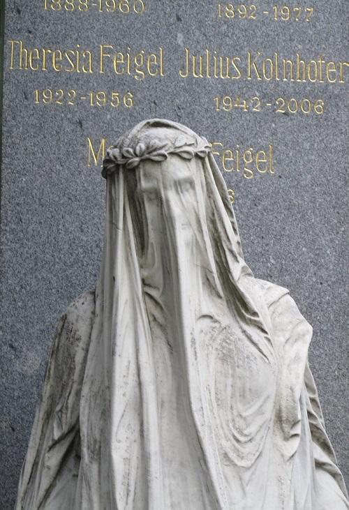 Veiled Woman Statue. Zentralfriedhof (Central Cemetary), Vienna