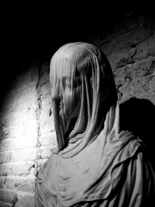 Veiled woman. sculpture at the Loeb Art Center.
