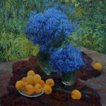 Cornflower in painting, artist Victor Dovbenko