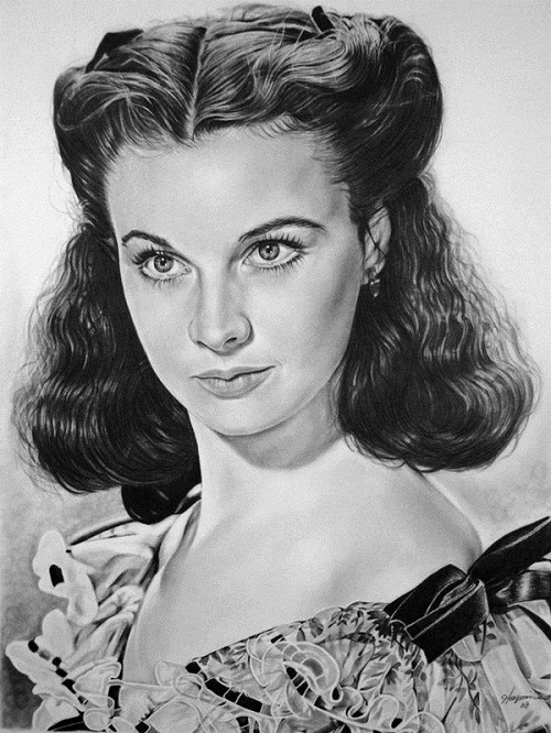 Vivian Leigh. Pencil portrait by American Artist Michelle Seo Hongmin