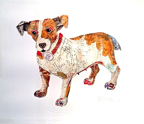 Collages of dogs by British artist Peter Clark