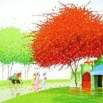 Colorful painting by Vietnamese artist Phan Thu Trang