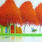 Red trees. Colorful painting by Vietnamese artist Phan Thu Trang