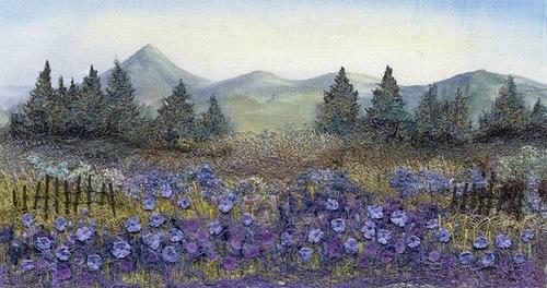 Stitchery paintings by British artist Julie Crabtree Pfannes