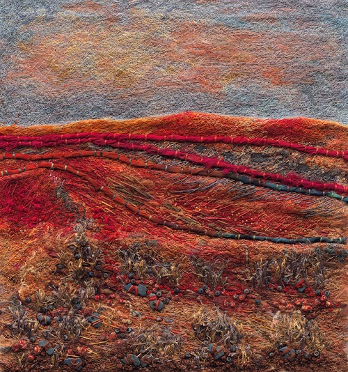 Stitchery painting Julie Crabtree Pfannes
